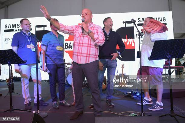 Mark Pastore hosts David Burtka Andrew Zimmern and Pat LaFrieda and Chef Josh Capon on stage at the Food Network Cooking Channel New York City Wine...