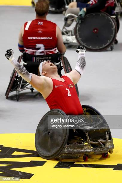 Mark Peters of Denmark celebrates after defeating Team United Kingdom in the Wheelchair Rugby Final Gold match during the Invictus Games 2017 at...