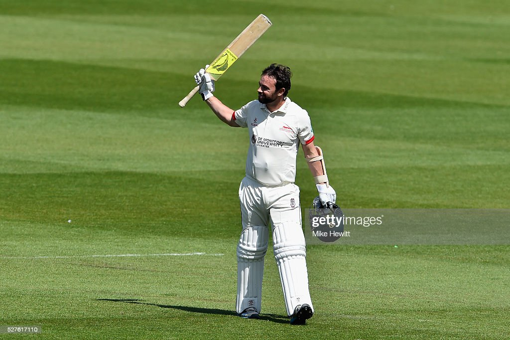 Mark Pettini of Leicestershire acknowledges the crowd's applause after reaching his century during the Specsavers County Championship Division Two match between Sussex and Leicestershire on May 03, 2016 in Hove, England.