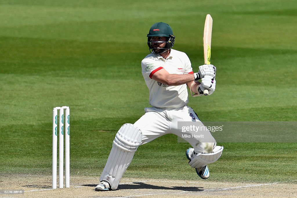 Mark Pettini of Leicestershire hits the two runs he needs to reach his century during the Specsavers County Championship Division Two match between Sussex and Leicestershire on May 03, 2016 in Hove, England.