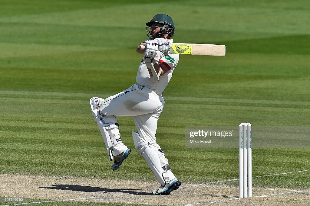 Mark Pettini of Leicestershire hooks on his way to a century during the Specsavers County Championship Division Two match between Sussex and Leicestershire on May 03, 2016 in Hove, England.