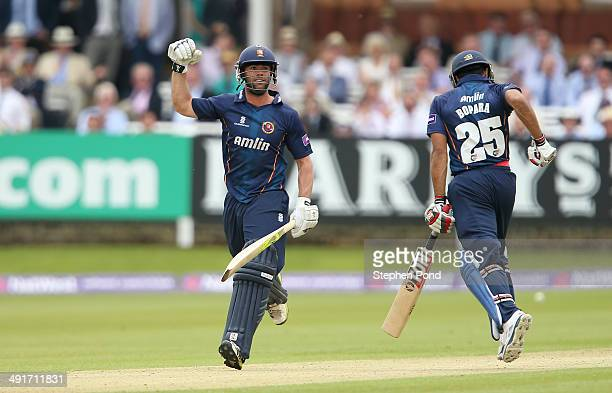 Mark Pettini of the Essex Eagles celebrates victory over the Middlesex Panthers during the Natwest T20 Blast match at Lord's Cricket Ground on May 17...