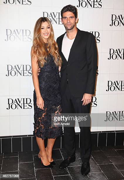 Mark Philippoussis and wife Silvana Lovin arrive at the David Jones Autumn/Winter 2015 Collection Launch at David Jones Elizabeth Street Store on...