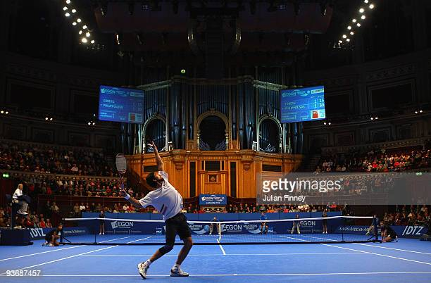 Mark Philippoussis of Australia serves to Stefan Edberg of Sweden during day three of the AEGON Masters Tennis at the Royal Albert Hall on December 3...