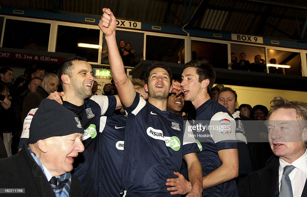 Mark Phillips of Southend celebrates after the final whistle during the Johnstone's Paint Trophy Southern Section Final match between Southend United and Leyton Orient at the Roots Hall Stadium on February 20, 2013 in Southend, England.
