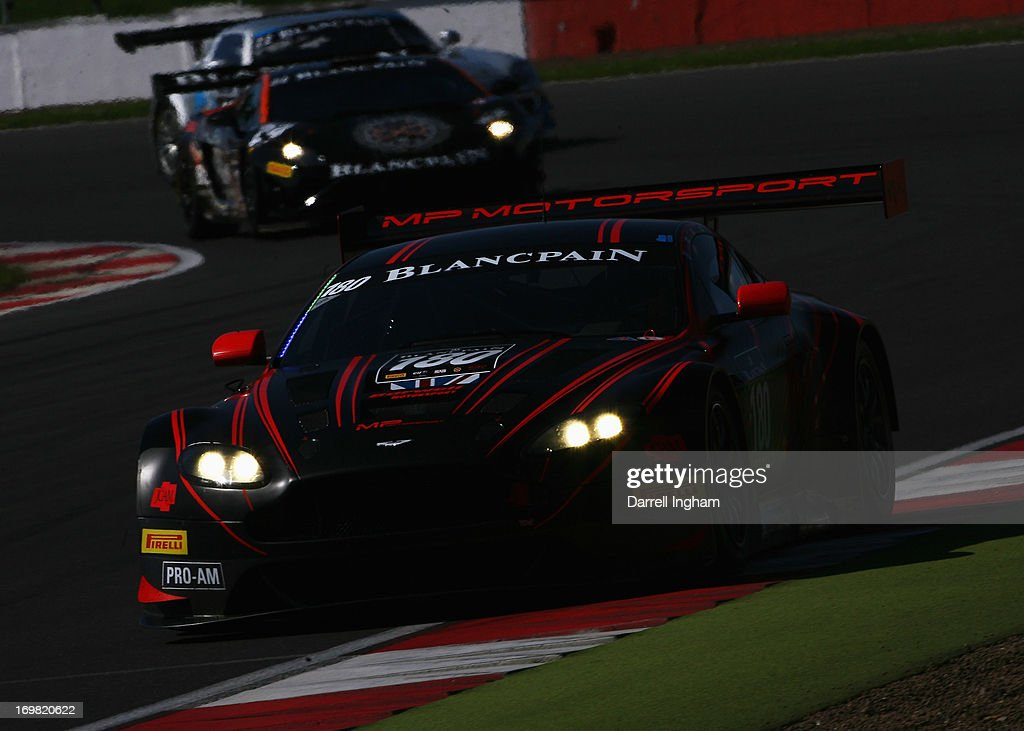 Mark Poole drives the Barwell Racing Aston Martin Aston Martin Vantage GT3 during the Blancpain Endurance GT Series race at the Silverstone Circuit...