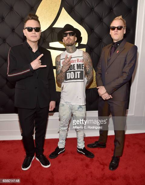 Mark Poppus Travis Barker and Matt Skiba of the band Blink182 attend The 59th GRAMMY Awards at STAPLES Center on February 12 2017 in Los Angeles...