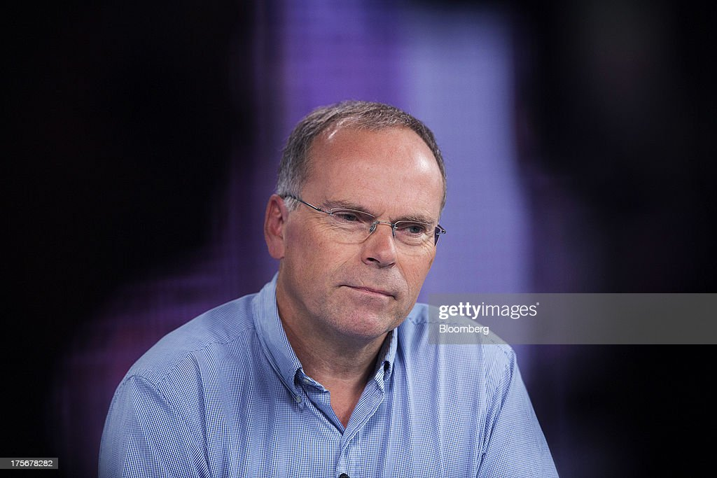 Mark Post, a Dutch scientist, pauses during a Bloomberg Television interview after unveiling the world's first beef burger created by stem cells harvested from a living cow, in London, U.K., on Tuesday, Aug. 6, 2013. The 5-ounce burger, which cost more than 250,000 euros ($332,000) to produce, was developed by Post of Maastricht University with funding from Google co-founder Sergey Brin. Photographer: Simon Dawson/Bloomberg via Getty Images Mark Post
