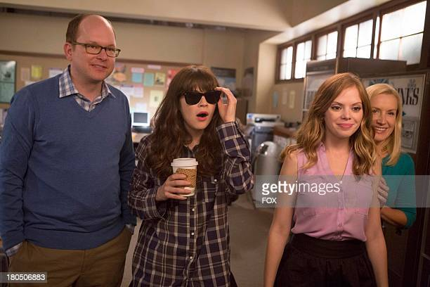 Mark Proksch Zooey Deschanel Dreama Walker and Angela Kinsey in the 'Jacooz' episode of NEW GIRL airing Tuesday Sept 24 2013 on FOX