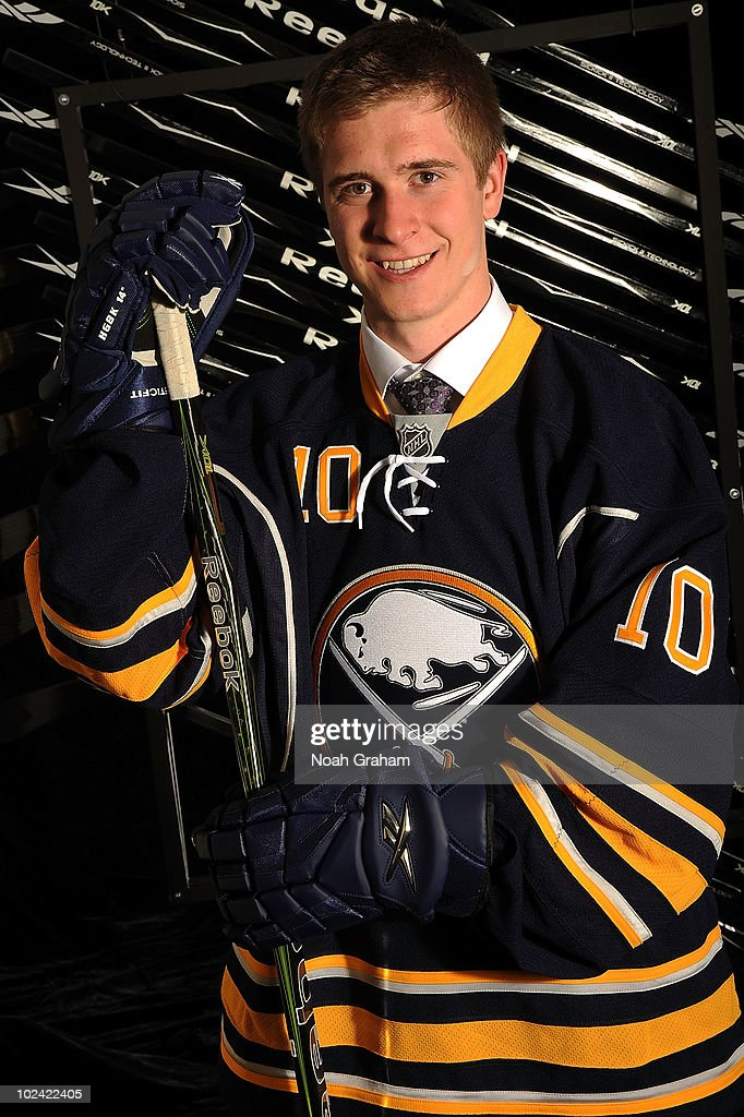 Mark Pysyk, drafted 23rd overall by the Buffalo Sabres, poses on stage during the 2010 NHL Entry Draft at Staples Center on June 25, 2010 in Los Angeles, California.