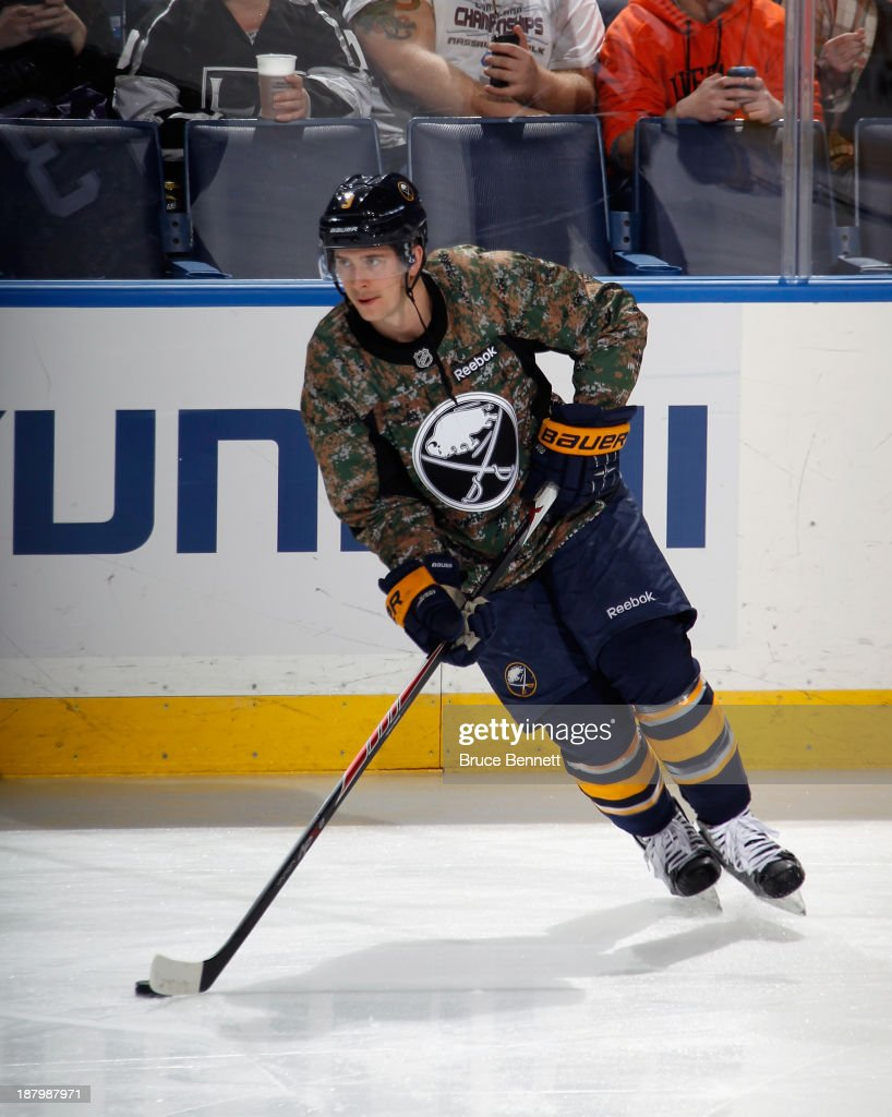 <a gi-track='captionPersonalityLinkClicked' href=/galleries/search?phrase=Mark+Pysyk&family=editorial&specificpeople=6571526 ng-click='$event.stopPropagation()'>Mark Pysyk</a> #3 of the Buffalo Sabres skates in warm-ups prior to the game against the Los Angeles Kings at the First Niagara Center on November 12, 2013 in Buffalo, New York.