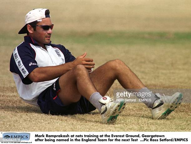 Mark Ramprakash at nets training at the Everest Ground Georgetown after being named in the England Team for the next Test