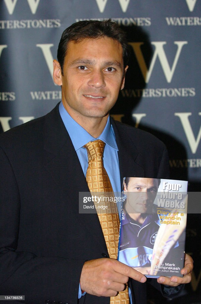 <a gi-track='captionPersonalityLinkClicked' href=/galleries/search?phrase=Mark+Ramprakash&family=editorial&specificpeople=240276 ng-click='$event.stopPropagation()'>Mark Ramprakash</a> during <a gi-track='captionPersonalityLinkClicked' href=/galleries/search?phrase=Mark+Ramprakash&family=editorial&specificpeople=240276 ng-click='$event.stopPropagation()'>Mark Ramprakash</a> Signs His Book 'Four More Weeks' at Waterstone's in London - November 15, 2005 at Waterstone's Leadenhall Market in London, Great Britain.