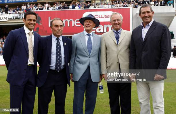 Mark Ramprakash is today presented with a bat in recognition of his 100th first class century last saturday from Dennis Amiss Geoffrey Boycott John...