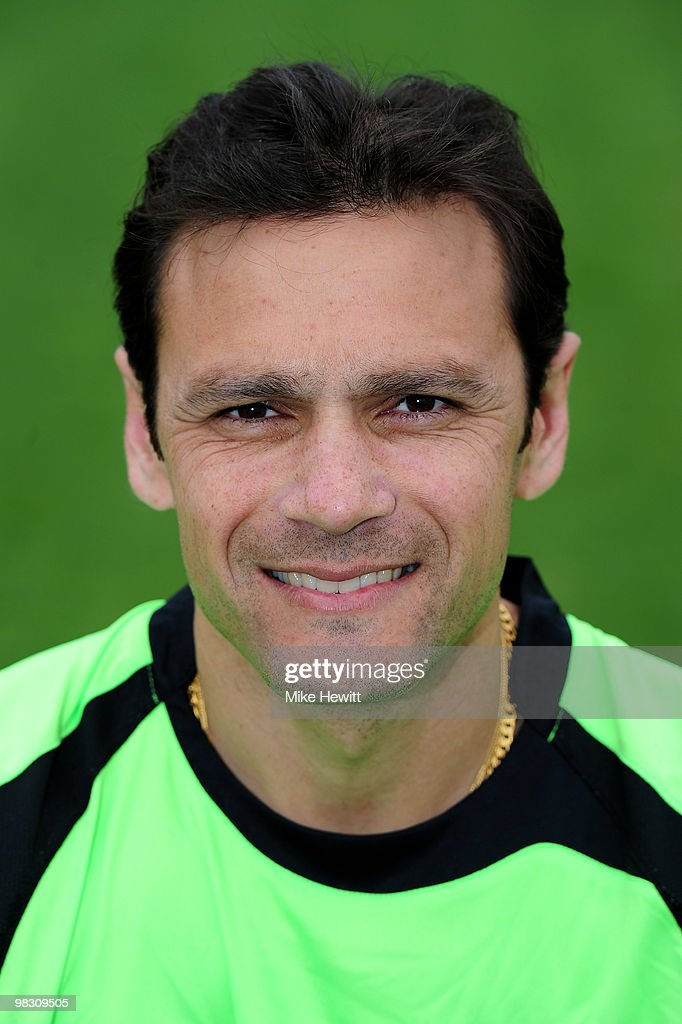 <a gi-track='captionPersonalityLinkClicked' href=/galleries/search?phrase=Mark+Ramprakash&family=editorial&specificpeople=240276 ng-click='$event.stopPropagation()'>Mark Ramprakash</a> of Surrey poses for a portrait in Friends Provident t20 kit during a photocall at The Brit Oval on April 7, 2010 in London, England.