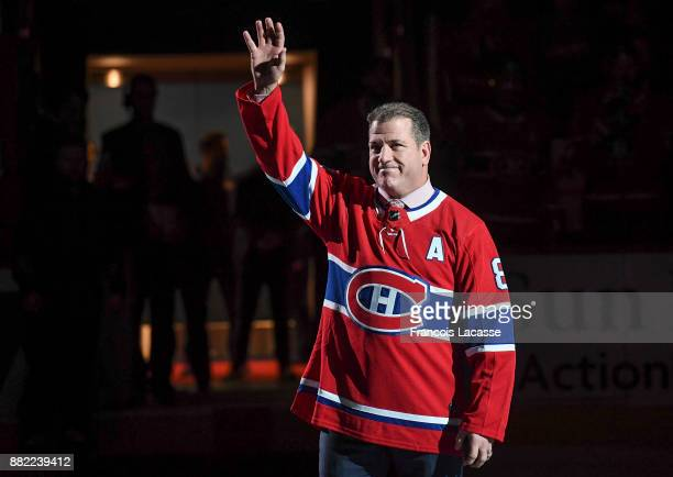 Mark Recchi honored for his induction into the Hockey Hall of Fame prior to the NHL game between the Montreal Canadiens and the Ottawa Senators at...