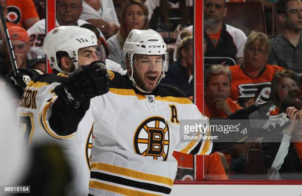 Mark Recchi of the Boston Bruins celebrates his first period goal against the Philadelphia Flyers in Game Four of the Eastern Conference Semifinals...