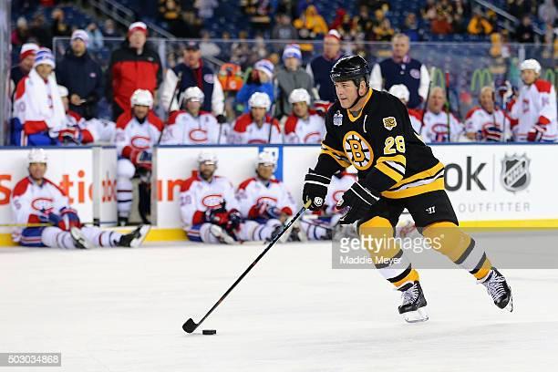 Mark Recchi of the Boston Bruins skates against the Montreal Canadiens during the 2016 Bridgestone NHL Winter Classic Alumni Game at Gillette Stadium...