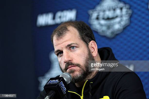 Mark Recchi of the Boston Bruins speaks to the media after Game Three of the 2011 NHL Stanley Cup Final at TD Garden on June 6 2011 in Boston...