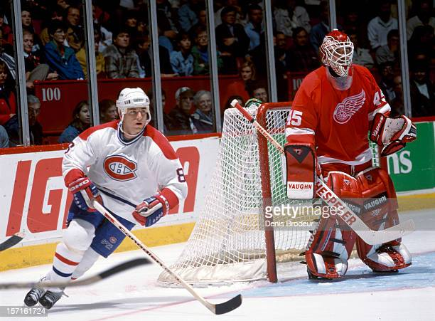 Mark Recchi of the Montreal Canadiens skates in a game against the Detroit Red Wings at the Montreal Forum circa 1990 in Montreal Quebec Canada