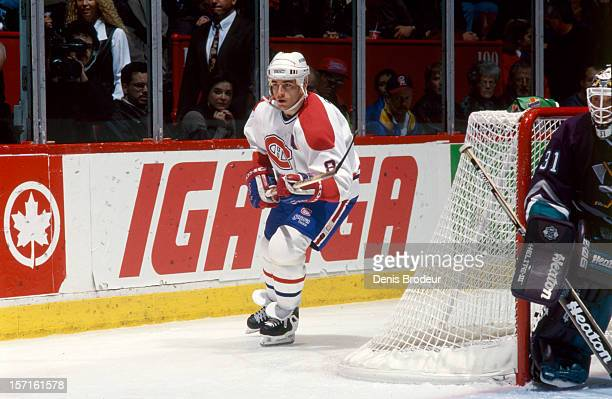 Mark Recchi of the Montreal Canadiens skates in a game at the Montreal Forum circa 1990 in Montreal Quebec Canada