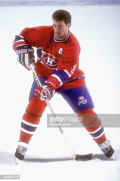 Mark Recci of the Montreal Canadiens skates during warm ups of a hockey game against the Washington Capitals on April 10 1997 at USAir Arena in...