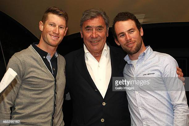 Mark Renshaw of Etixx Quick Step Fivetime Tour de France winner Eddy Merckx and Mark Cavendish of Etixx Quick Step during the MAD Charity event with...