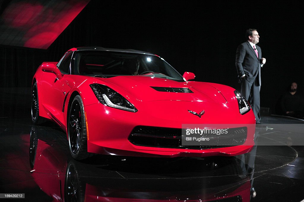 Mark Reuss, General Motors' President of North America, unveils the 7th-generation Chevrolet Corvette, the C7, to the media at the Russell Industrial Complex January 13, 2013 in Detroit, Michigan. The redesigned 2014 Corvette was revealed at a preview of the 2013 North American International Auto Show, which opens in Detroit January 14th.