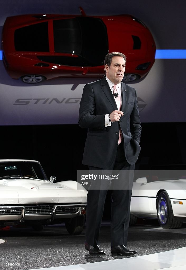 Mark Reuss of General Motors addresses the audience at the Corvette Stingray stand at the 2013 North American International Auto Show in Detroit, Michigan, January 14, 2013. AFP PHOTO/Geoff Robins
