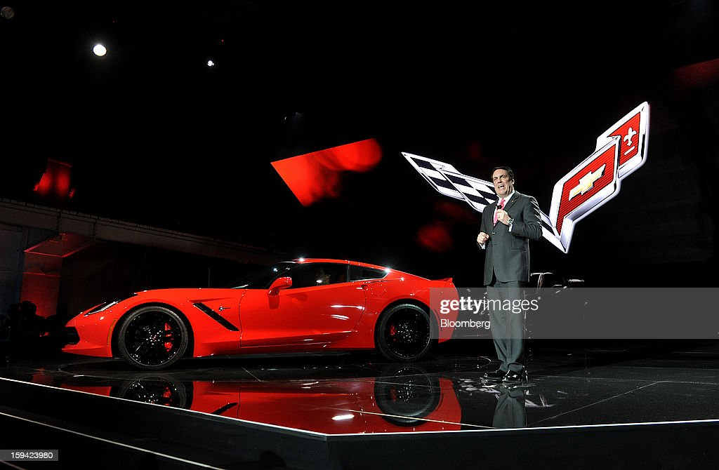 Mark Reuss, president of General Motors Co. (GM) North America, speaks during the unveiling of the 2014 Chevrolet Corvette Stingray ahead of the 2013 North American International Auto Show (NAIAS) in Detroit, Michigan, U.S., on Sunday, Jan. 13, 2013. The new model, set to reach dealers in this year's third quarter, is part of the push to breathe new life into the Chevy brand, which accounted for 71 percent of GM's 2012 U.S. sales. Photographer: Daniel Acker/Bloomberg via Getty Images