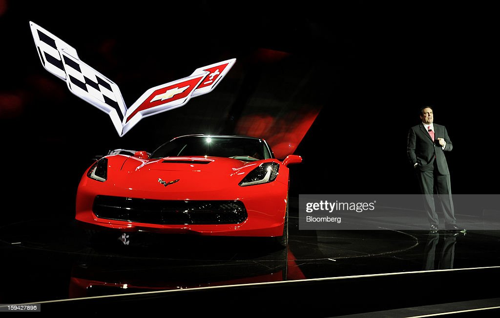 Mark Reuss, president of General Motors Co. (GM) North America, speaks during the unveiling of the 2014 Chevrolet Corvette Stingray ahead of the 2013 North American International Auto Show (NAIAS) in Detroit, Michigan, U.S., on Sunday, Jan. 13, 2013. The new model, set to reach dealers in this year's third quarter, is part of the push to breathe new life into the Chevy brand, which accounted for 71 percent of GM's 2012 U.S. sales. Photographer: David Paul Morris/Bloomberg via Getty Images