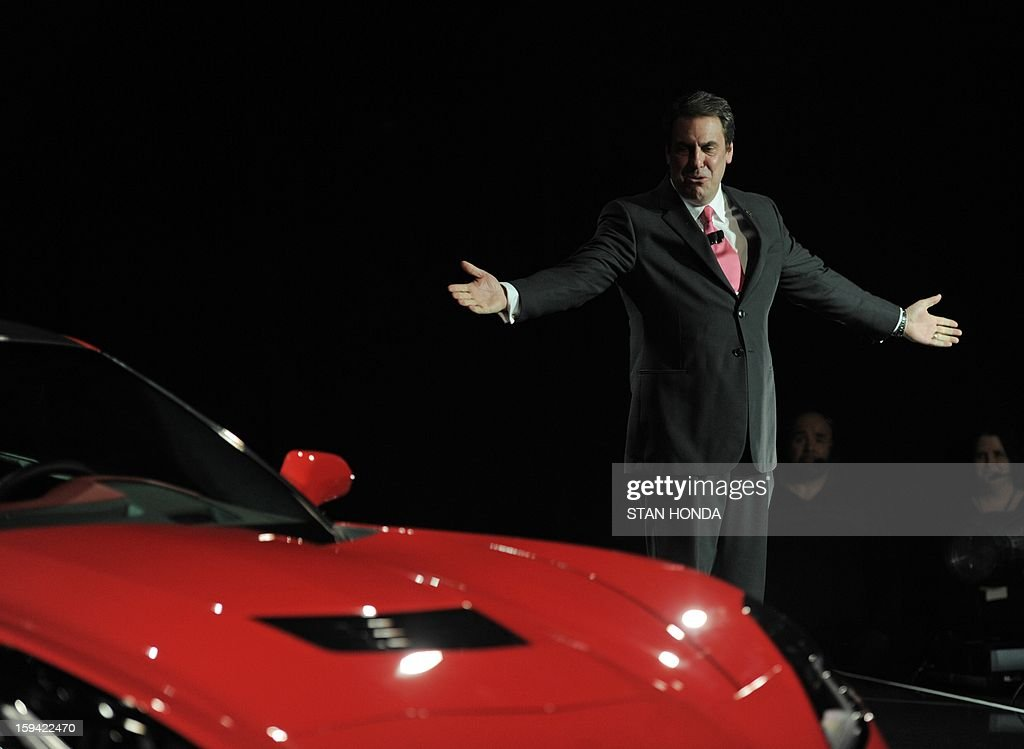 Mark Reuss, President of GM North America, introduces the redesigned 2014 Chevrolet Corvette, the night before press previews start at the 2013 North American International Auto Show in Detroit, Michigan, January 13, 2013. AFP PHOTO/Stan HONDA