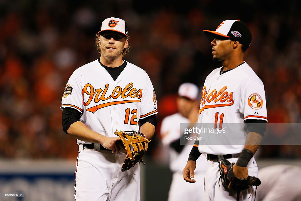 <a gi-track='captionPersonalityLinkClicked' href=/galleries/search?phrase=Mark+Reynolds+-+Baseball+Player&family=editorial&specificpeople=2343799 ng-click='$event.stopPropagation()'>Mark Reynolds</a> #12 and <a gi-track='captionPersonalityLinkClicked' href=/galleries/search?phrase=Robert+Andino&family=editorial&specificpeople=628104 ng-click='$event.stopPropagation()'>Robert Andino</a> #11 of the Baltimore Orioles react after Reynolds bobbled a single hit by Ichiro Suzuki #31 of the New York Yankees in the first inning during Game Two of the American League Division Series at Oriole Park at Camden Yards on October 8, 2012 in Baltimore, Maryland.