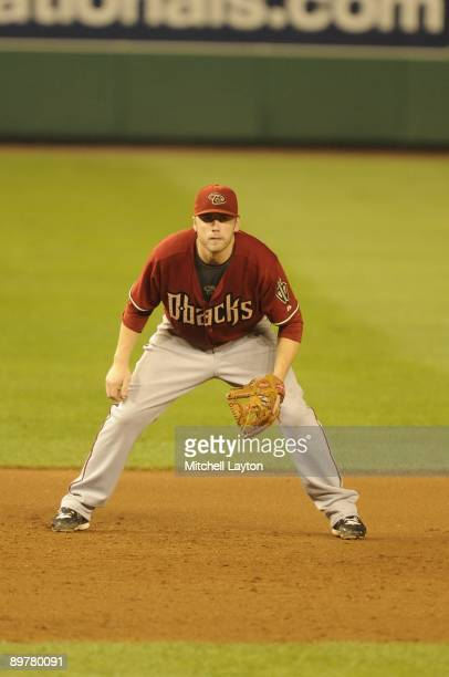 Mark Reynolds of the Arizona Diamondbacks prepares to field a ground ball during a baseball game against the Washington Nationals on August 8 2009 at...
