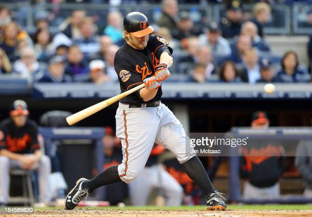 Mark Reynolds of the Baltimore Orioles in action against the New York Yankees during Game Five of the American League Division Series at Yankee...
