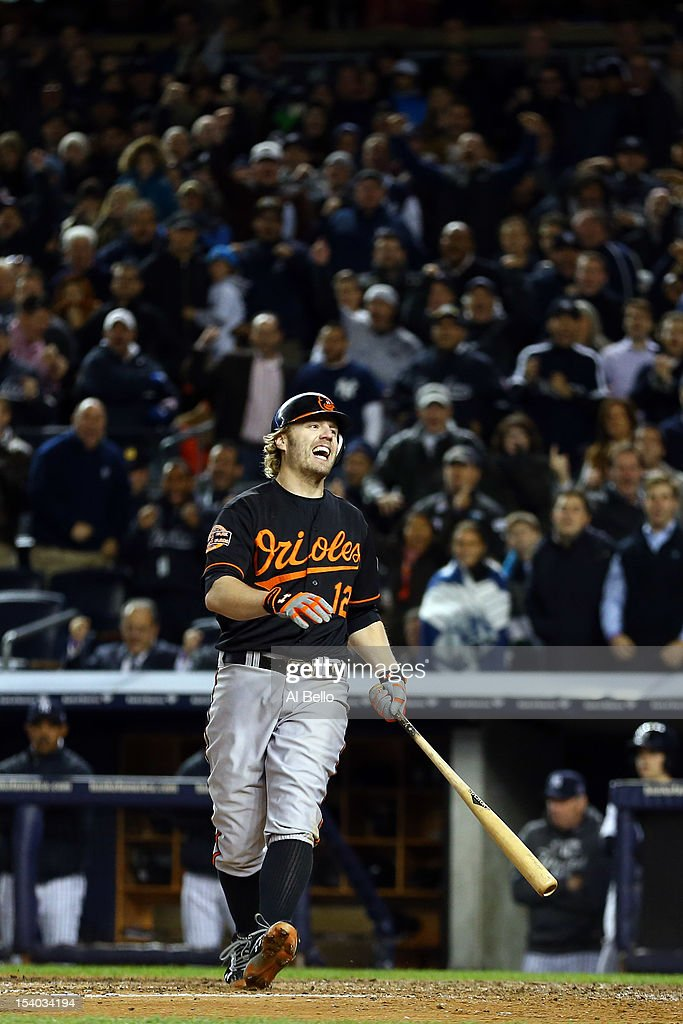 <a gi-track='captionPersonalityLinkClicked' href=/galleries/search?phrase=Mark+Reynolds&family=editorial&specificpeople=2343799 ng-click='$event.stopPropagation()'>Mark Reynolds</a> #12 of the Baltimore Orioles reacts after striking out with the bases loaded against the New York Yankees during Game Five of the American League Division Series at Yankee Stadium on October 12, 2012 in New York, New York.