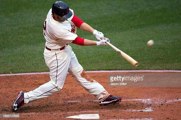 Mark Reynolds of the Cleveland Indians hits a grand slam during the fifth inning against the Chicago White Sox at Progressive Field on April 13 2013...