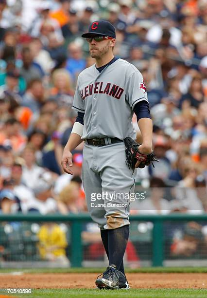 Mark Reynolds of the Cleveland Indians positioned at third base against the Detroit Tigers at Comerica Park on June 9 2013 in Detroit Michigan
