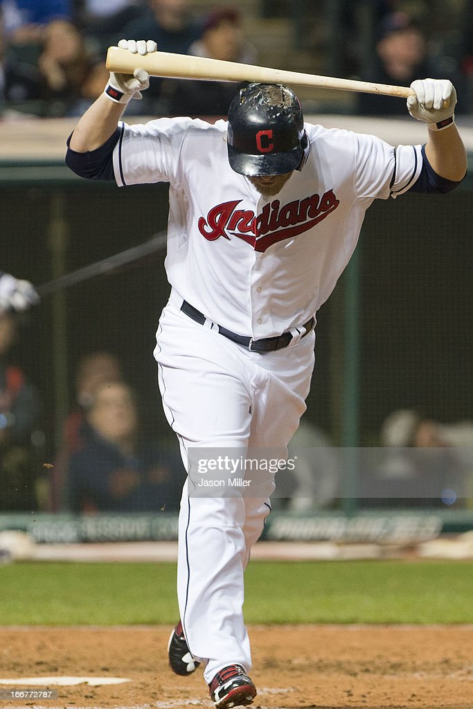 <a gi-track='captionPersonalityLinkClicked' href=/galleries/search?phrase=Mark+Reynolds+-+Baseball+Player&family=editorial&specificpeople=2343799 ng-click='$event.stopPropagation()'>Mark Reynolds</a> of the Cleveland Indians reacts after flying out to right to end the fifth inning against the Boston Red Sox at Progressive Field on April 16, 2013 in Cleveland, Ohio. All uniformed team members are wearing jersey number 42 in honor of Jackie Robinson Day.
