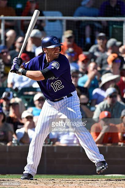 Mark Reynolds of the Colorado Rockies bats against the San Francisco Giants on March 20 2016 in Scottsdale Arizona