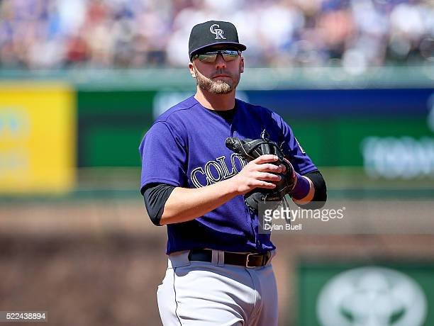 Mark Reynolds of the Colorado Rockies heads to his defensive position in the second inning against the Chicago Cubs at Wrigley Field on April 17 2016...