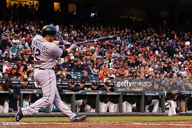 Mark Reynolds of the Colorado Rockies hits an RBI single against the San Francisco Giants during the second inning at ATT Park on May 6 2016 in San...