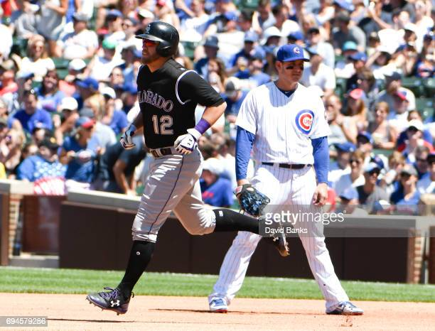 Mark Reynolds of the Colorado Rockies runs the bases after hitting a home run against the Chicago Cubs during the fourth inning on June 10 2017 at...
