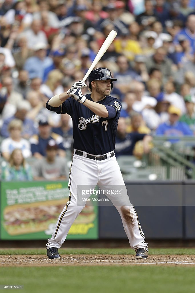 <a gi-track='captionPersonalityLinkClicked' href=/galleries/search?phrase=Mark+Reynolds+-+Baseball+Player&family=editorial&specificpeople=2343799 ng-click='$event.stopPropagation()'>Mark Reynolds</a> #7 of the Milwaukee Brewers gets ready for the next pitch during the game against the Washington Nationals at Miller Park on June 25, 2014 in Milwaukee, Wisconsin.