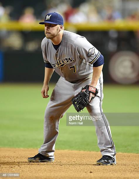 Mark Reynolds of the Milwaukee Brewers gets ready to make a play against the Arizona Diamondbacks at Chase Field on June 18 2014 in Phoenix Arizona