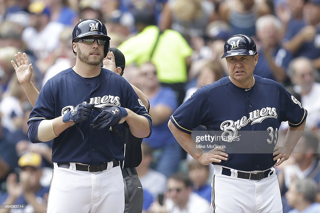 <a gi-track='captionPersonalityLinkClicked' href=/galleries/search?phrase=Mark+Reynolds+-+Baseball+Player&family=editorial&specificpeople=2343799 ng-click='$event.stopPropagation()'>Mark Reynolds</a> #7 of the Milwaukee Brewers stands at first base after hitting a RBI single during the first inning against the Pittsburgh Pirates at Miller Park on August 24, 2014 in Milwaukee, Wisconsin.