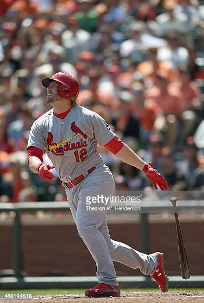 Mark Reynolds of the St Louis Cardinals bats against the San Francisco Giants in the top of the first inning at ATT Park on August 30 2015 in San...