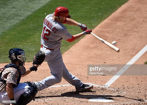 Mark Reynolds of the St Louis Cardinals hits a double during the fourth inning of a baseball game against the San Diego Padres at Petco Park August...