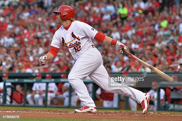 Mark Reynolds of the St Louis Cardinals hits a RBI single in the second inning against the Milwaukee Brewers at Busch Stadium on June 2 2015 in St...