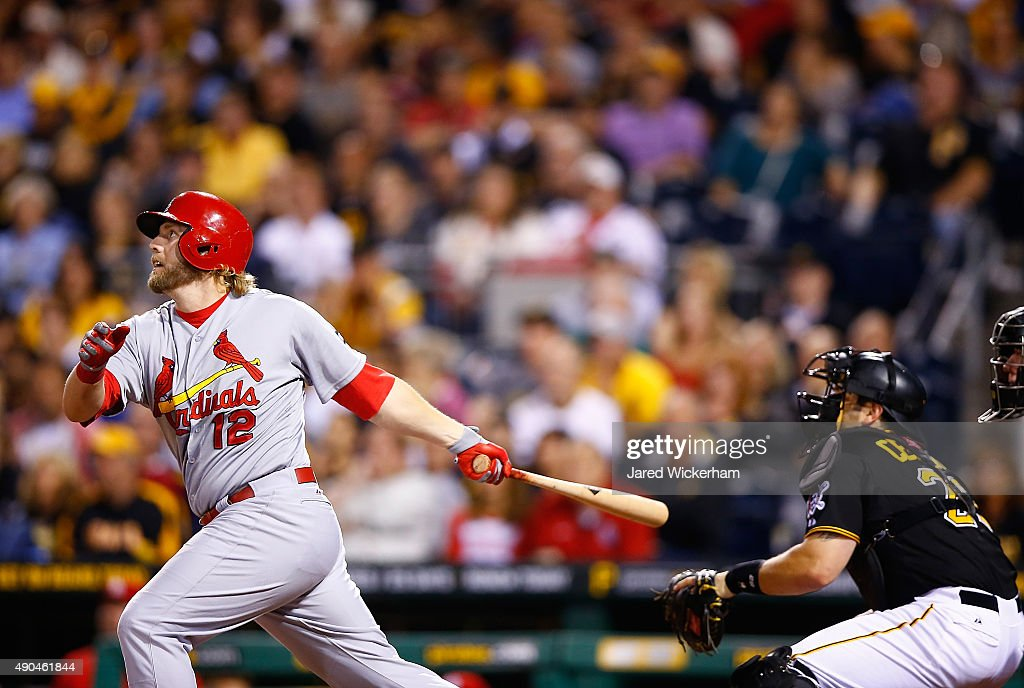 Mark Reynolds #12 of the St Louis Cardinals hits a two run home run in the 9th inning against the Pittsburgh Pirates during the game at PNC Park on September 28, 2015 in Pittsburgh, Pennsylvania.